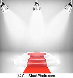 podium, verlicht, rood tapijt