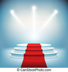 podium, wektor, oświetlany, rusztowanie