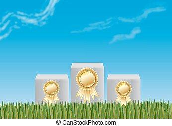 podium, winnaars