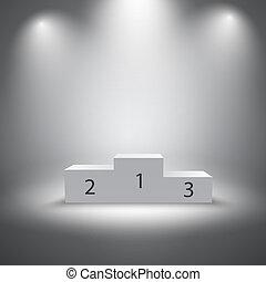 podium, winnaars, verlicht, sporten