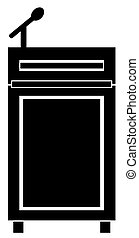 podium with a microphone - vector - black silhouette of...