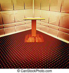 Podium with an open book in the corner. 3D illustration. Vintage style.