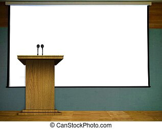 Podium with Blank Projector Screen - Podium on Stage with...