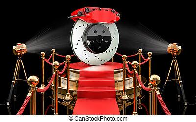 Podium with car disc brake, 3D rendering