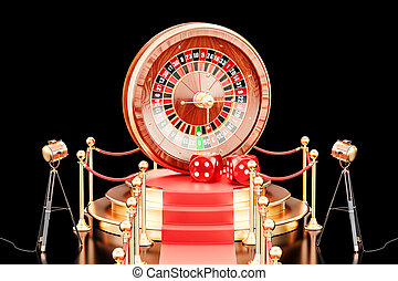 Podium with casino roulette, 3D rendering