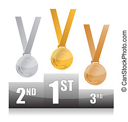 Podium with gold, silver and bronze