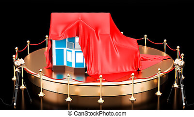 Podium with house covered red cloth. 3D rendering