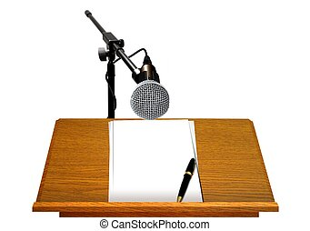 Podium with Microphone and Document