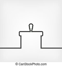 podium with microphone illustration.