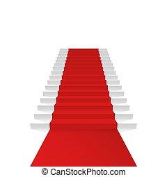 Podium with red carpet.