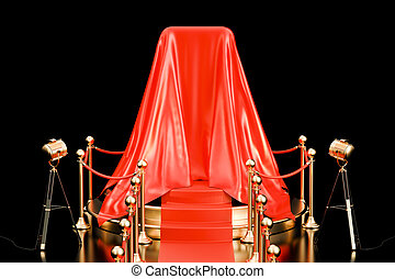 Podium with smartphone covered red cloth, presentation of new phone. 3D rendering