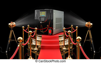 Podium with voltage stabilizer, 3D rendering isolated on black background