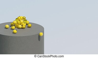 3d rendering. Yellow Christmas balls fall on gray podium. New Year, Christmas concept. Contemporary composition. Christmas decorations. Background with copy space. Trendy color animation.