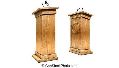 podiums, opposing, debatovat