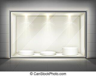 podiums, rond, vitrine, mur, verre