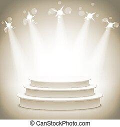 podiums, vide, or, étagère, exposition, rond, eps10., 3d.