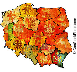 podkarpackie region on administration map with flag of other polish provinces