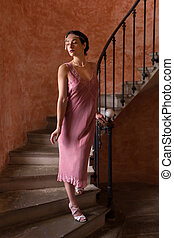 podlotek, strój, dama, schody