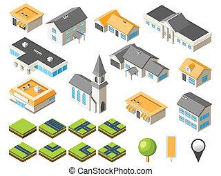 podmiejski, isometric, miasto, zestaw