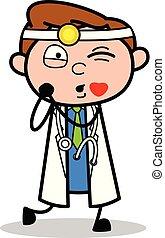podmuchowy, doktor, -, ilustracja, wektor, pocałunek, profesjonalny, rysunek