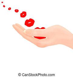 podmuchowy, pocałunki, ręka