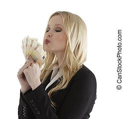 podmuchowy, pomyślny, kobieta interesu, notatki, młody, pocałunek, euro