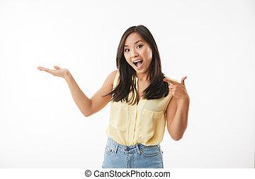 podniecony, kobieta, pointing., młody, asian