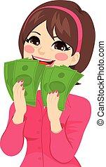 podniecony, pieniądze, kobieta interesu