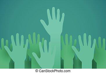 podniesiony, concept., do góry, miłosierdzie, głosowanie, albo, hands., zgłaszanie się na ochotnika