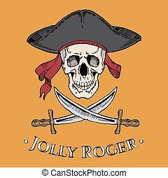 podniesiony, czaszka, dwa, Żółty, Wesoły,  Roger, tło, kapelusz, łopatki