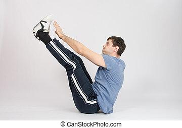 podniesiony, jego, atleta, rozciąganie herb, feet