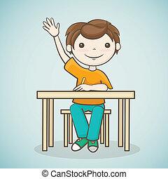 podniesiony, jego, student, ręka