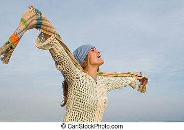 podniesiony, kobieta, młody, herb, rozkrzyczany, śpiew, albo, szczęśliwy