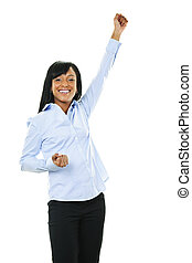podniesiony, kobieta, młody, ręka, podniecony szczęśliwy