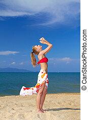podniesiony, kobieta, plaża, herb, radosny