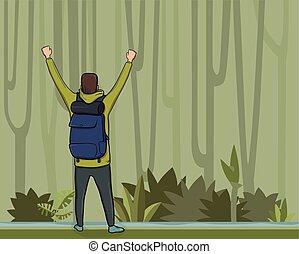 podniesiony, kopia, success., symbol, prospekt, space., młody, ilustracja, wstecz, forest., backpacker, wektor, wycieczkowicz, badacz, siła robocza, mountaineer., człowiek, dżungla