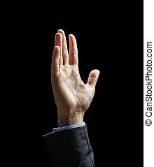 podniesiony, na, do góry, ręka, czarnoskóry, zamknięcie, biznesmen