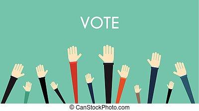 podniesiony, pojęcie, zgłaszanie się na ochotnika, concept., wektor, siła robocza, głosowanie