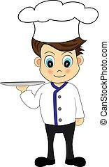 podnos, šikovný, karikatura, vrchní kuchař