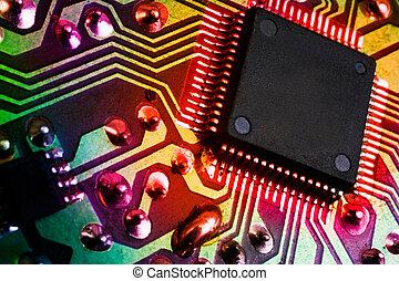 podoba, elektronický, detail, grafické pozadí, mikroprocesor