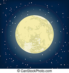 podoba, eps, měsíc, vektor, 8, night.