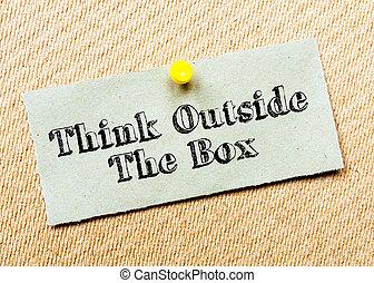 podoba, přemýšlet, mimo, dopisní papír, přišpendlit, board., recycled, message., zazátkovat, box, pojem