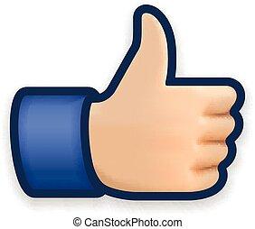 podobny, ikona, emoji, kciuk do góry, symbol