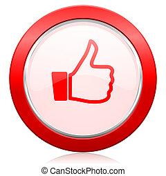 podobny, ikona, kciuk do góry, znak