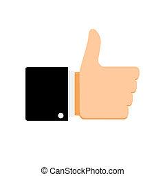 podobny, symbol, kciuk do góry