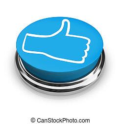 podobny, to, -, kciuki do góry, ikona, na, okrągły, błękitny, guzik
