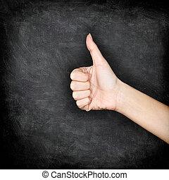 podobny, udzielanie, tablica, -, do góry, ręka, kciuki, upodobania