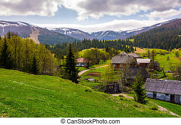 Podobovets village on grassy and forested hills. beautiful...