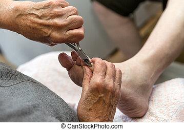 podologist, geeft, een, medische behandeling