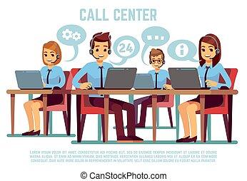 podpórkowy, pojęcie, grupa, środek, handlowy, słuchawki, biuro., operatory, ludzie, wektor, rozmowa telefoniczna, poparcie, telemarketing
